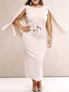 Maxi Dress - Plus Size Elegant Cape Sleeve Open Back