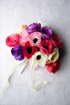 Learn how to DIY this anemone wedding bouquet with Creativebug #diy #wedding #bride #bouquet #anemone http://www.creativebug.com/workshops/paper-flowers-make-an-anemone-bouquet#Description