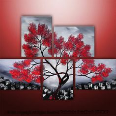 Abstract Modern Landscape Asian Tree Art by Gabriela 44x32 black white red