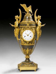 """c1805-10 MANTEL CLOCK """"AUX VICTOIRES"""", Empire, the dial signed MANIERE A PARIS (Charles-Guillaume Hautemanière, maître 1778), Paris ca. 1805/10. Gilt and burnished bronze. Enamel dial. 2 small gilt hands. Parisian movement striking the 1/2-hours on bell. Gilt mounts and applications. Requires servicing. H 63 cm. Sold for CHF 50 000 (hammer price) Wall Clock Brands, Wall Clock Online, Wall Clock Luxury, Decoration, Art Decor, Antique Wall Clocks, Classic Clocks, Retro Clock, Mantel Clocks"""