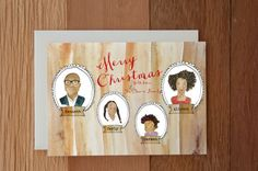 Family Illustrated Christmas Card by Honeyhuepaperco on Etsy