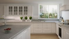 IKEA Kitchen - Atlantic Salt quartz countertop, white Lidingo cabinets