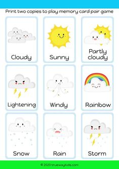 Remember the weather cards and match the pairs. Free printable weather game and activity for children Preschool Social Studies, Preschool Bible Lessons, Free Preschool, Preschool Activities, Animal Activities For Kids, Games For Kids, Free Bible Coloring Pages, Jesus Calms The Storm, Weather Cards