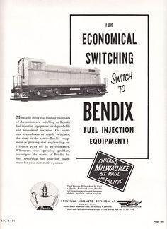 1951 Bendix Scintilla Magneto Div Ad: Milwaukee Road #1682 Switch Locomotive