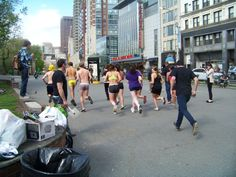 And they're off!  Students begin the Nearly Naked Run at Emerson College