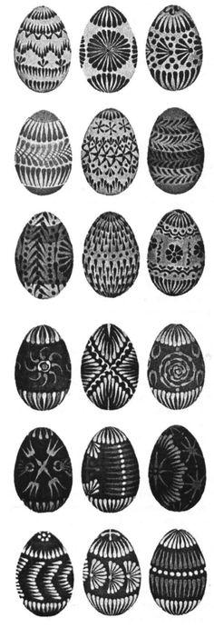 Traditional designs for Lemko-type Rusyn pysanky from Eastern Slovakia Easter Gift, Easter Crafts, Bird Nest Craft, Carved Eggs, Ukrainian Easter Eggs, Grenade, Egg Designs, Egg Art, Black And White Design
