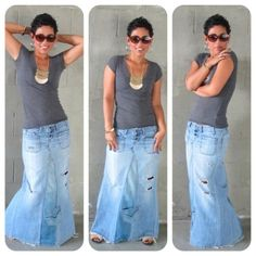 DIY True Religion Inspired Recycled Jean Maxi Skirt Tutorial. Need 2 pairs of Jeans to do it.
