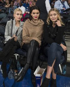 22/10/14 - Hailey Baldwin, Kendall Jenner and Gigi Hadid at the Knicks basketball game in Madison Square Garden