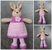 Viola the Rabbit in a Pretty Dress - free crochet pattern by Laura Teg