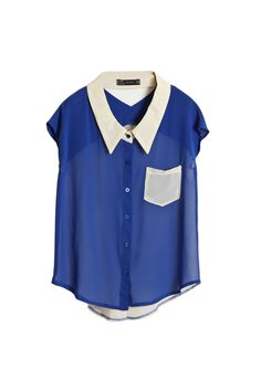 Hollowed Back Blue Chiffon Shirt