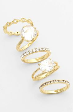 Main Image - Ariella Collection Mixed Stackable Rings (Set of 5)