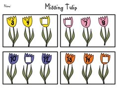 Here's a set of worksheets where students must identify the missing number on the tulip. Includes numbers 3-30.