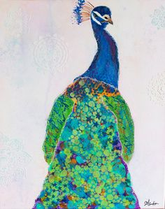 Items similar to Mixed media original peacock painting canvas on Etsy Peacock Painting, Carrie, Disney Characters, Fictional Characters, Original Art, Mixed Media, Bird, The Originals, Canvas