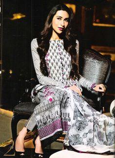 Karishma Kapoor [Pretty Lawn Cotton Pakistani Suit by Faraaz Mannan] Pakistani Designer Suits, Pakistani Suits, Pakistani Dresses, Indian Sarees, Indian Dresses, Indian Attire, Indian Ethnic Wear, Indian Outfits, Emo Outfits