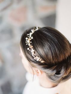 Pearl and gold floral crown | Read More: http://www.stylemepretty.com/2014/06/16/symphony-wedding-inspiration/ |