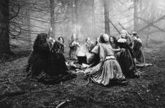 A coven of witches meet in the forest