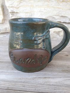 Grandma Pottery Mug with Dragonfly by DragonflyPotteryCom on Etsy
