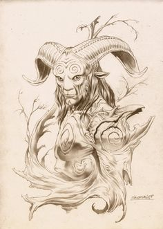 Pan's Labyrinth- The Faun One of the greatest works of prolific horror director Guillermo Del Toro, Pan's Labyrinth is a tale of a girl who escapes to a supernatural world beneath her own during the. Fantasy Kunst, Fantasy Art, Fantasy Creatures, Mythical Creatures, Drawing Sketches, Art Drawings, Daughter Of Smoke And Bone, Man Sketch, Green Man