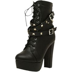 Studded Lace-up Block-heel Platform Boots ($55) ❤ liked on Polyvore featuring shoes, boots, ankle booties, blackfive, lace up booties, lace up boots, platform boots, laced booties and laced up booties