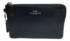 Coach Crossgrain Corner Zip Wristlet Metallic Midnight Blue