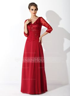 A-Line/Princess V-neck Floor-Length Chiffon Lace Mother of the Bride Dress With Ruffle Beading Sequins (008006076) - JenJenHouse
