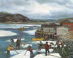 Beautiful Newfoundland artwork captured by artist LLoyd Pretty Local Painters, Canadian Painters, Canadian Artists, Newfoundland And Labrador, Newfoundland Canada, Ocean Sounds, Beautiful Sites, Naive Art, Art And Architecture