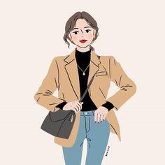 Yoga Cartoon, Cartoon Fan, Cartoon Girl Drawing, Girl Cartoon, Illustration Girl, Character Illustration, Amazing Drawings, Cute Drawings, Korean Painting