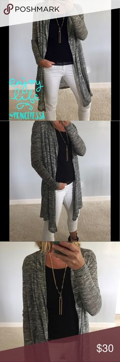 "Lightweight Open Cardigan Lightweight Open Cardigan. Super cute and easy to wear💕 Like a marbled grey color (white, black, grey). Long sleeves. Handkerchief hem. Measurements laying flat. S: 33"" long, 20.5"" pit to pit. M: 33.5"" long, 21.5"" pit to pit. L: 34"" long, 22.5"" pit to pit. 67 rayon 33 polyester. New Boutique Item, without tags. #BB11 Sweaters Cardigans"