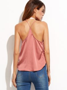 Online shopping for Pink Satin Wrap Cami Top from a great selection of women's fashion clothing & more at MakeMeChic.COM.