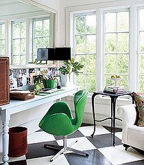 Checkered Floor with Green Chair & Built-in Workspace