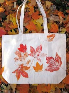 DIY tote bag. Nice Fall project with the kids stamping paint-laden leafs. (autumn crafts for kids paint)