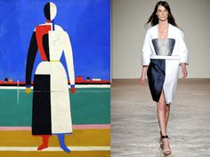 One of my favoured new Italian talents Gabriele Colangelo presented for SS||2013 a wonderful color blocking collection [all rights] inspired by the geometrical poetry perceived from the paintings of avant-garde Suprematism artist Kazmir Malevič [all lefts].