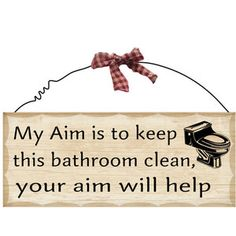 10 X 4 Small Wooden Sign Plaque Bathroom Aim Home Decor Funny Sayings