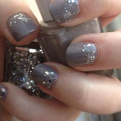 Sparkle manicure from emery.b done with Essie's Chinchilly and Set in Stones