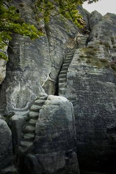 """Staircase to Nai'del. Stony stairway from the century. The stairway is part of a rock castle in the """"Elbsandsteingebirge"""" mountains in Sachsen, Germany Places Around The World, Oh The Places You'll Go, Places To Travel, Places To Visit, Around The Worlds, Stairway To Heaven, Stairways, Belle Photo, Nature Photos"""