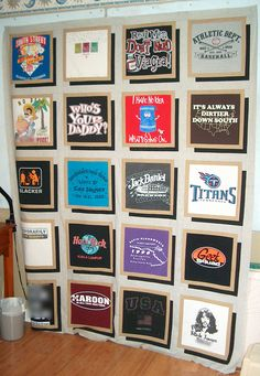 T-shirt quilt pieced, July 2008. cooler than the standard instructions. Love the black drop shadow and borders. Much nicer end product.