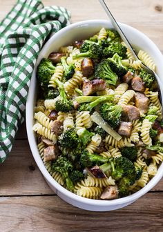 budget meals: pasta with roasted broccoli + chicken sausage | The Clever Carrot Chicken Pasta Bake, Chicken Sausage, Chicken Broccoli, Sausage Pasta, Roasted Chicken, Pasta Recipes, Cooking Recipes, Healthy Recipes, Pork Recipes