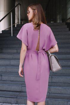Платье со спущенным коротким рукавом, ниже колена, пыльно-розовое Fashion Confession - Платья - Fashion Confession