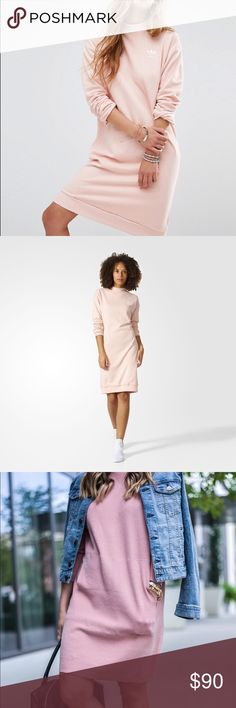 Adidas Pink Sweatshirt Dress BNWOT. Size small but runs big. Super cute. The third and fourth photos are not the same dress. Just posted for styling inspiration. The first two photos are the exact dress you will receive. Sold out! Send reasonable offers ✨ adidas Dresses Midi