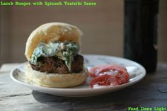 Greek Lamb Burger with Spinach Feta Tzatziki sauce is a healthy way to enjoy a burger. It is perfect way to stay on your diet and enjoy Greek flavors. Lamb Recipes, Diet Recipes, Cooking Recipes, Healthy Recipes, Healthy Dinners, Soup And Sandwich, Sandwich Recipes, A Food, Good Food