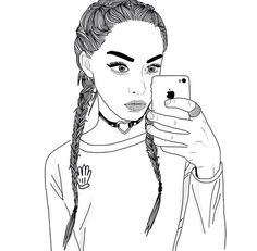 Image via We Heart It #art #blackandwhite #braids #draw #drawing #girl #hairs #iphone #nice #outfit #outlines #overlay #photo