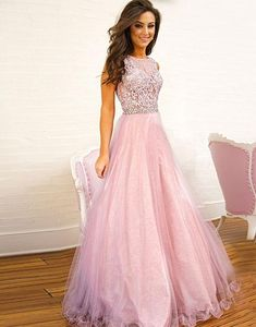 Pink Lace Tulle Long Prom Dress, Pink Evening Dress , Formal Dress on Luulla