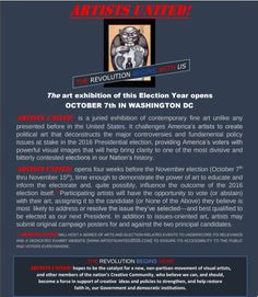 Artists United Call for Entry for Election Year Exhibition in Washington DC https://artistmarketingresources.com/2016/08/14/artists-united-exhibition-washington-dc/