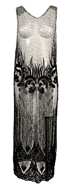 1920's Beaded Silk Net Art Deco Gown ~ http://fashion.1stdibs.com/avl_item_detail.php?id=55636