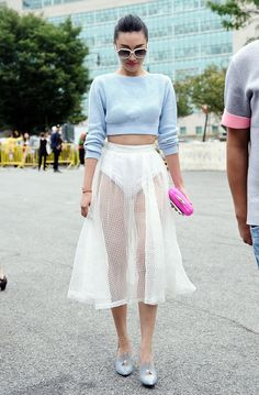 Pastels in street style. Grazia Style Hunter at NYFW SS/15