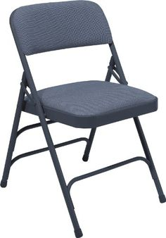 """The National Public Seating 2300 Series steel frame upholstered premium fabric seat and back folding chair has a char-blue 18 gauge, 7/8"""" tubular steel """"Y-fram..."""