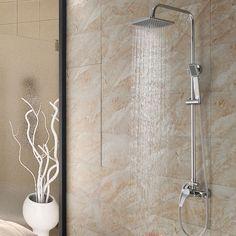 Modern Bathroom Pressurized Rainfall Shower Head Spout & Hand Shower Set, Chrome #Unbranded