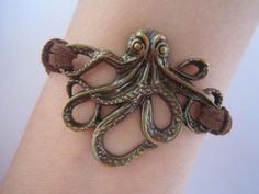 Antiqued Bronze Octopus Bracelet / Brown Leather by WearingPretty, $2.99
