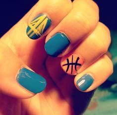 Warriors inspired nails. #letsgowarriors