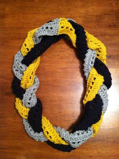 WVU braided infinity scarf! www.lizbethsdesigns.etsy.com  message me on there to order!